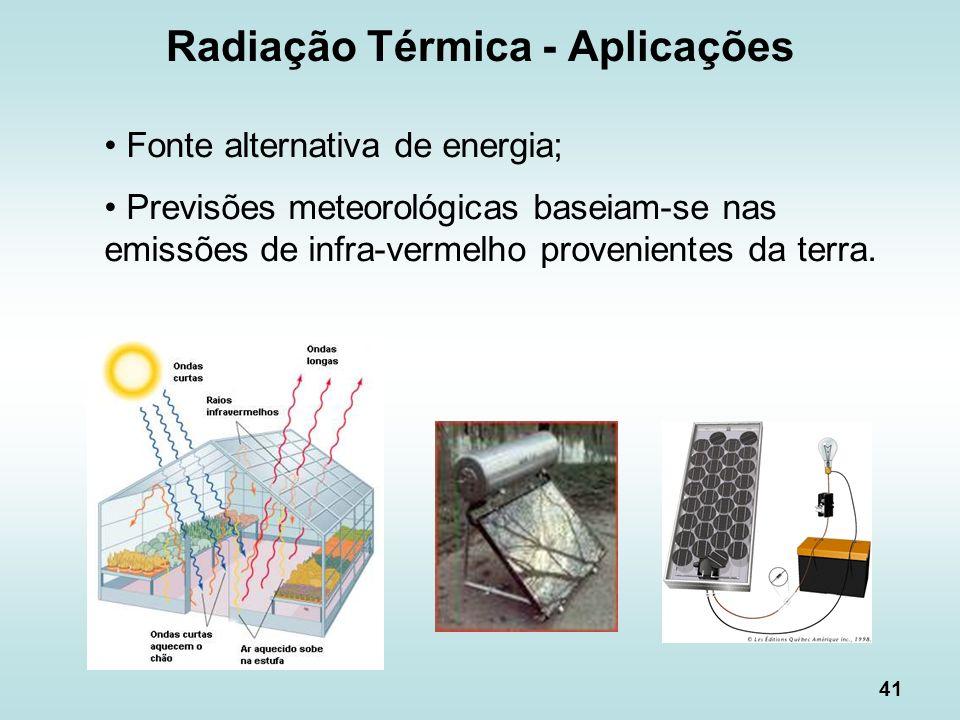 41 Radiação Térmica - Aplicações Fonte alternativa de energia; Previsões meteorológicas baseiam-se nas emissões de infra-vermelho provenientes da terr