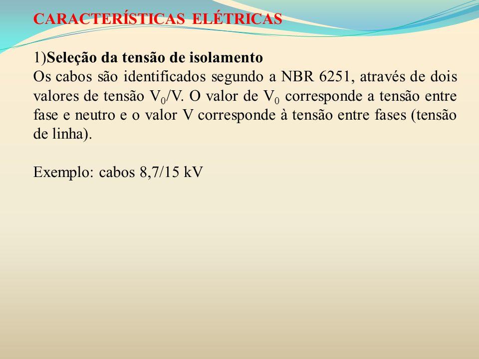 CARACTERÍSTICAS ELÉTRICAS 1)Seleção da tensão de isolamento Os cabos são identificados segundo a NBR 6251, através de dois valores de tensão V 0 /V. O