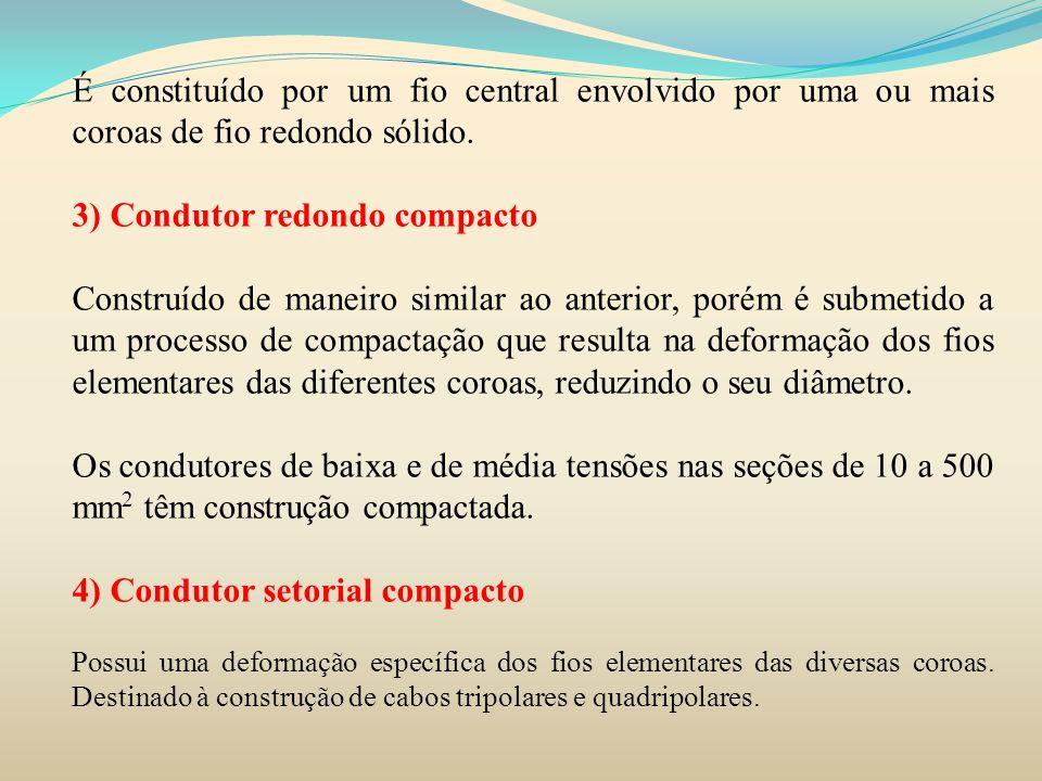 5) Condutor flexível É fabricado a partir do encordoamento de vários fios elementares de diâmetro reduzido.