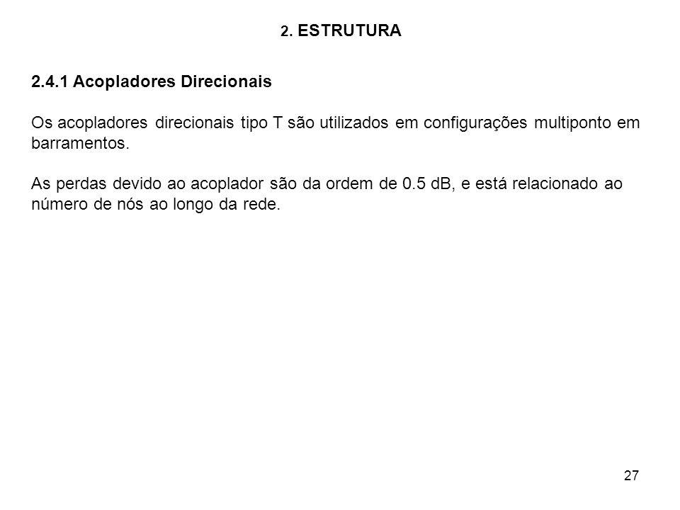 27 2. ESTRUTURA 2.4.1 Acopladores Direcionais Os acopladores direcionais tipo T são utilizados em configurações multiponto em barramentos. As perdas d