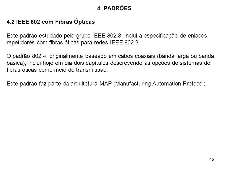 42 4. PADRÕES 4.2 IEEE 802 com Fibras Ópticas Este padrão estudado pelo grupo IEEE 802.8, inclui a especificação de enlaces repetidores com fibras óti