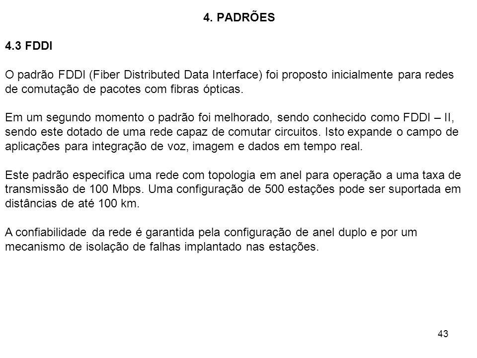 43 4. PADRÕES 4.3 FDDI O padrão FDDI (Fiber Distributed Data Interface) foi proposto inicialmente para redes de comutação de pacotes com fibras óptica