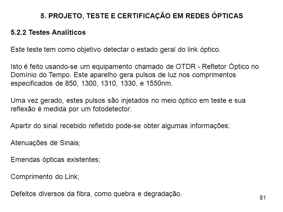 51 5. PROJETO, TESTE E CERTIFICAÇÃO EM REDES ÓPTICAS 5.2.2 Testes Analíticos Este teste tem como objetivo detectar o estado geral do link óptico. Isto