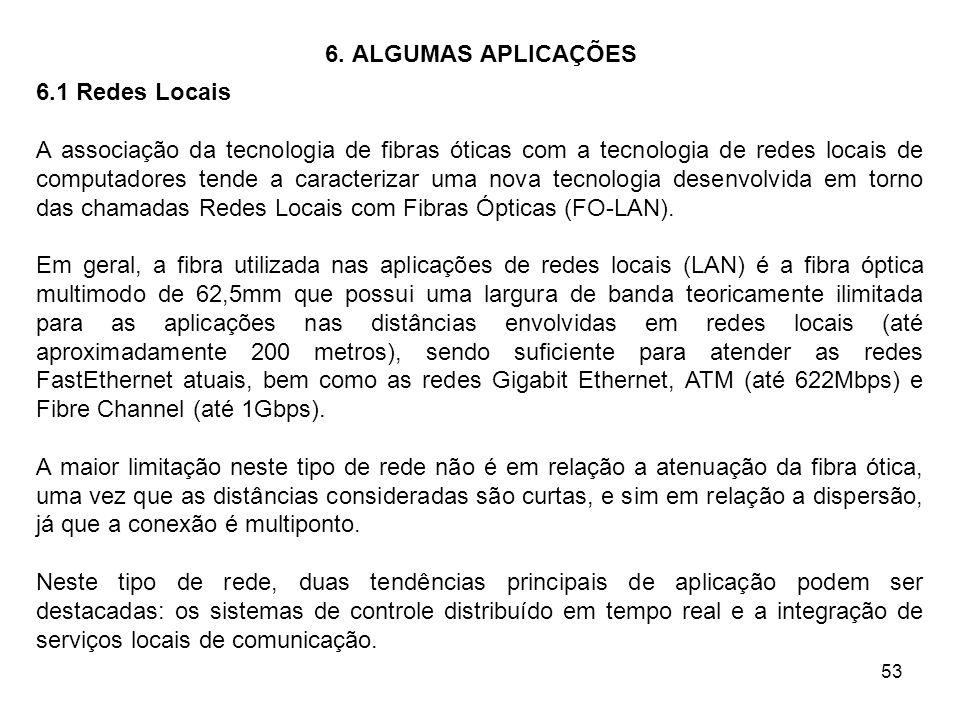 53 6. ALGUMAS APLICAÇÕES 6.1 Redes Locais A associação da tecnologia de fibras óticas com a tecnologia de redes locais de computadores tende a caracte