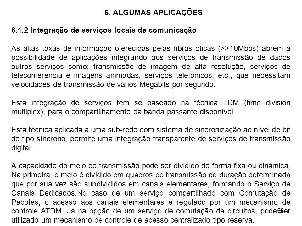 55 6. ALGUMAS APLICAÇÕES 6.1.2 Integração de serviços locais de comunicação As altas taxas de informação oferecidas pelas fibras óticas (>>10Mbps) abr