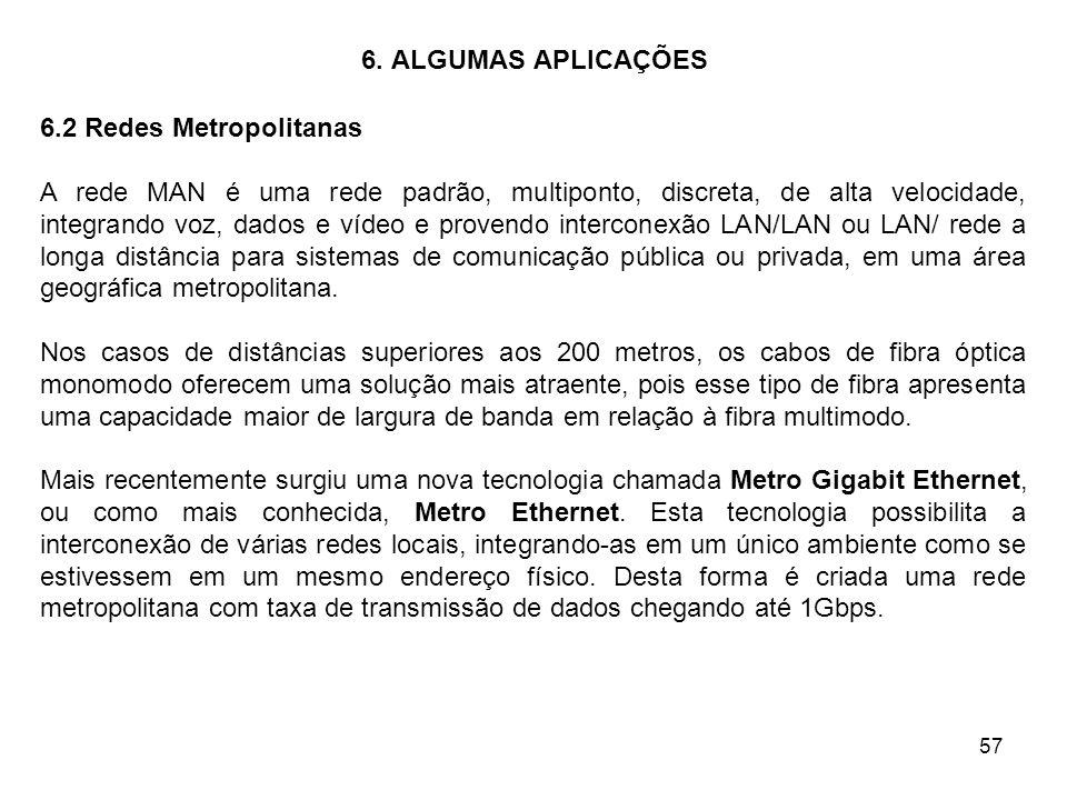 57 6. ALGUMAS APLICAÇÕES 6.2 Redes Metropolitanas A rede MAN é uma rede padrão, multiponto, discreta, de alta velocidade, integrando voz, dados e víde