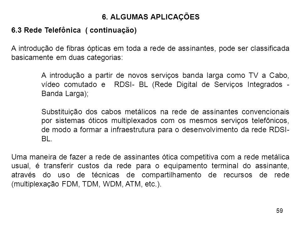 59 6. ALGUMAS APLICAÇÕES 6.3 Rede Telefônica ( continuação) A introdução de fibras ópticas em toda a rede de assinantes, pode ser classificada basicam
