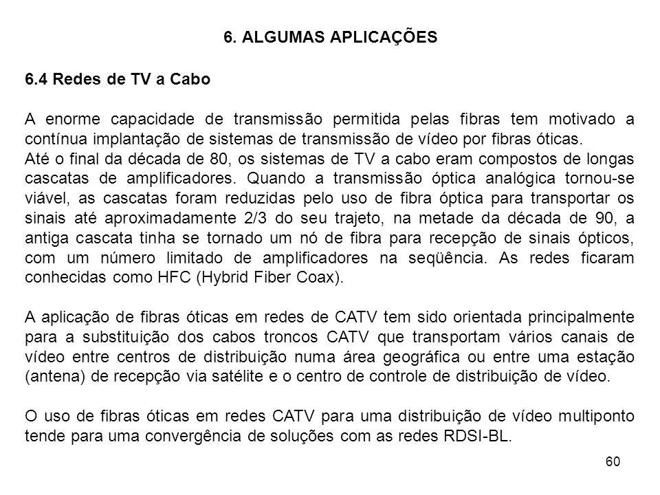60 6. ALGUMAS APLICAÇÕES 6.4 Redes de TV a Cabo A enorme capacidade de transmissão permitida pelas fibras tem motivado a contínua implantação de siste