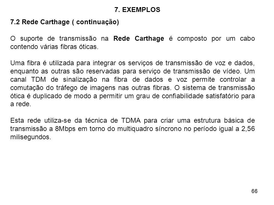 66 7. EXEMPLOS 7.2 Rede Carthage ( continuação) O suporte de transmissão na Rede Carthage é composto por um cabo contendo várias fibras óticas. Uma fi