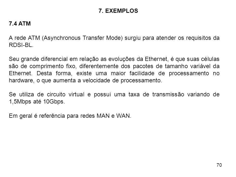 70 7. EXEMPLOS 7.4 ATM A rede ATM (Asynchronous Transfer Mode) surgiu para atender os requisitos da RDSI-BL. Seu grande diferencial em relação as evol