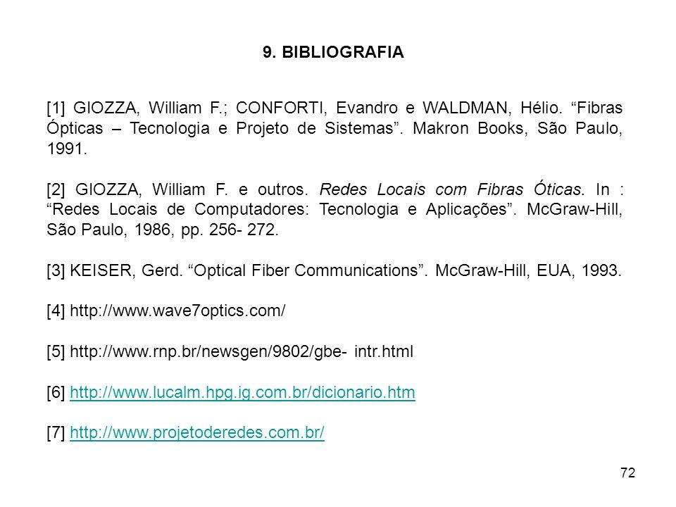 72 9. BIBLIOGRAFIA [1] GIOZZA, William F.; CONFORTI, Evandro e WALDMAN, Hélio. Fibras Ópticas – Tecnologia e Projeto de Sistemas. Makron Books, São Pa