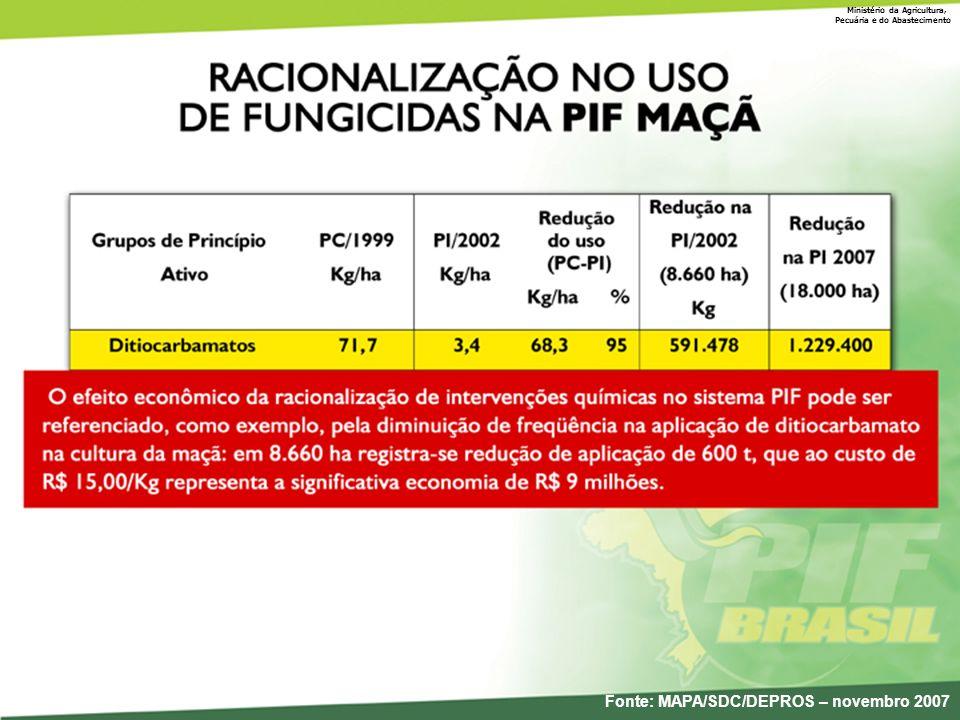 Ministério da Agricultura, Pecuária e do Abastecimento Fonte: MAPA/SDC/DEPROS – novembro 2007