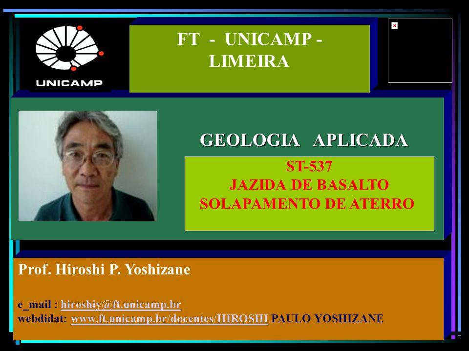 GEOLOGIA APLICADA FT - UNICAMP - LIMEIRA Prof. Hiroshi P.