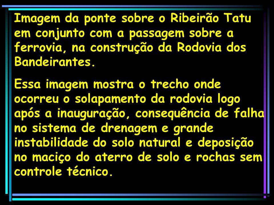 Imagem da ponte sobre o Ribeirão Tatu em conjunto com a passagem sobre a ferrovia, na construção da Rodovia dos Bandeirantes. Essa imagem mostra o tre