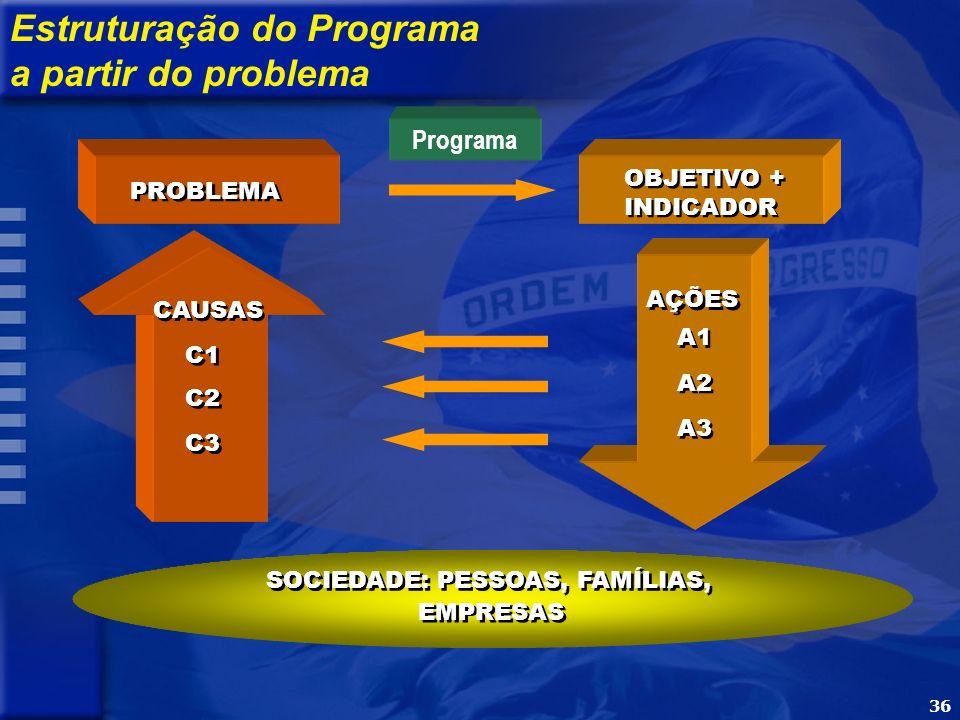 36 PROBLEMA CAUSAS C1 C2 C3 OBJETIVO + INDICADOR OBJETIVO + INDICADOR AÇÕES A1 A2 A3 SOCIEDADE: PESSOAS, FAMÍLIAS, EMPRESAS Programa Estruturação do Programa a partir do problema