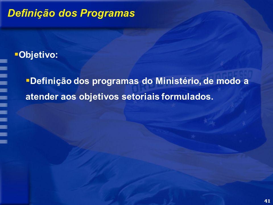 41 OBJETIVO Apresentar a metodologia e o processo de elaboração do PPA 2004-2007 Definição dos Programas Definição dos programas do Ministério, de modo a atender aos objetivos setoriais formulados.