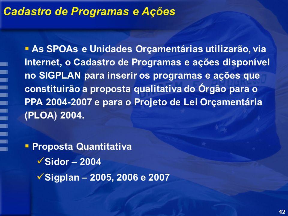 42 OBJETIVO Apresentar a metodologia e o processo de elaboração do PPA 2004-2007 Cadastro de Programas e Ações As SPOAs e Unidades Orçamentárias utilizarão, via Internet, o Cadastro de Programas e ações disponível no SIGPLAN para inserir os programas e ações que constituirão a proposta qualitativa do Órgão para o PPA 2004-2007 e para o Projeto de Lei Orçamentária (PLOA) 2004.
