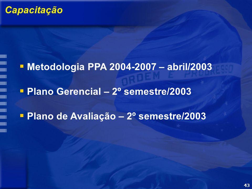 43 OBJETIVO Apresentar a metodologia e o processo de elaboração do PPA 2004-2007 Capacitação Metodologia PPA 2004-2007 – abril/2003 Plano Gerencial – 2º semestre/2003 Plano de Avaliação – 2º semestre/2003 43