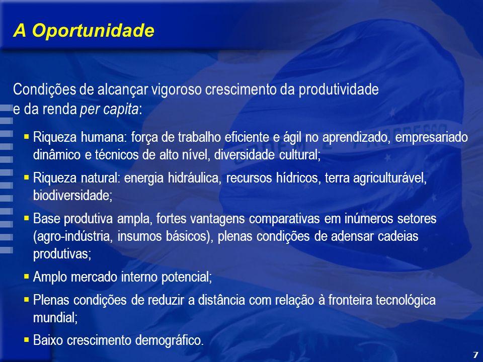 7 Riqueza humana: força de trabalho eficiente e ágil no aprendizado, empresariado dinâmico e técnicos de alto nível, diversidade cultural; Riqueza natural: energia hidráulica, recursos hídricos, terra agriculturável, biodiversidade; Base produtiva ampla, fortes vantagens comparativas em inúmeros setores (agro-indústria, insumos básicos), plenas condições de adensar cadeias produtivas; Amplo mercado interno potencial; Plenas condições de reduzir a distância com relação à fronteira tecnológica mundial; Baixo crescimento demográfico.