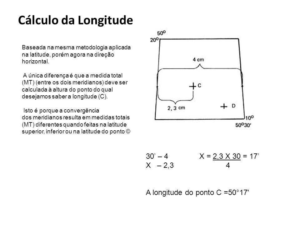 Cálculo da Longitude Baseada na mesma metodologia aplicada na latitude, porém agora na direção horizontal. A única diferença é que a medida total (MT)
