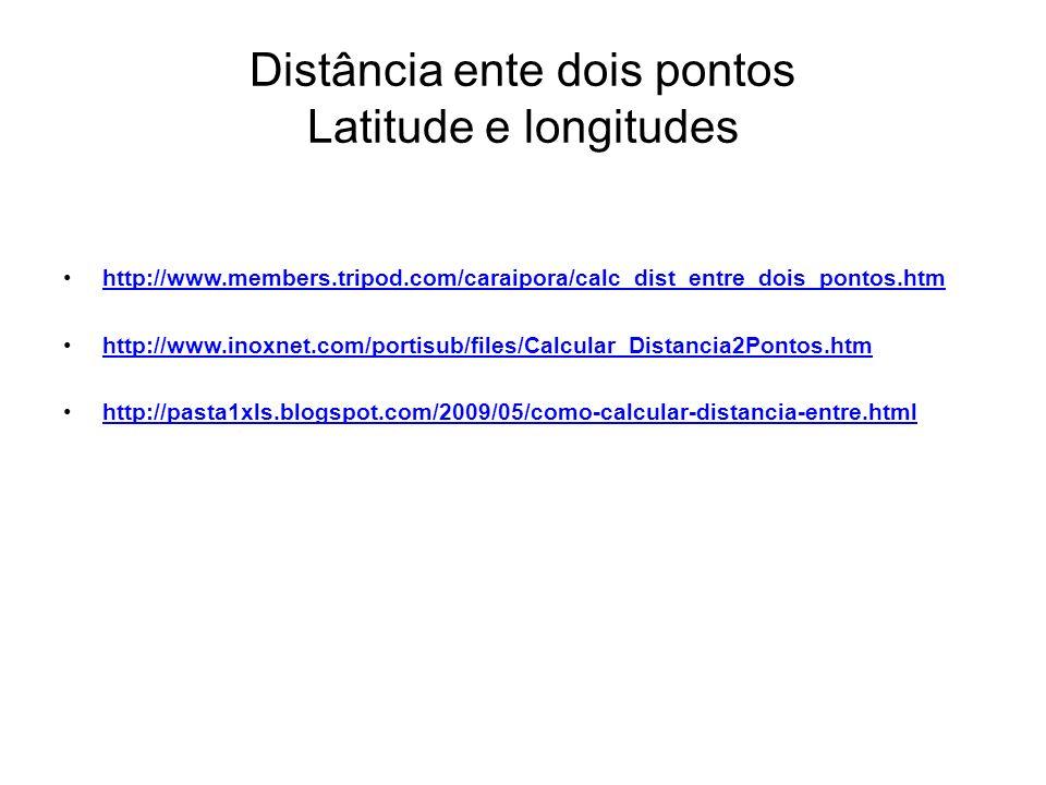 Distância ente dois pontos Latitude e longitudes http://www.members.tripod.com/caraipora/calc_dist_entre_dois_pontos.htm http://www.inoxnet.com/portis