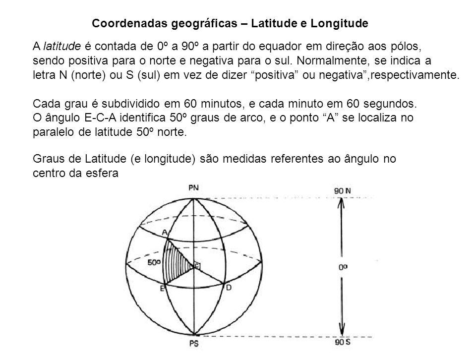 Graus de Latitude (e longitude) são medidas referentes ao ângulo no centro da esfera Coordenadas geográficas – Latitude e Longitude A latitude é conta