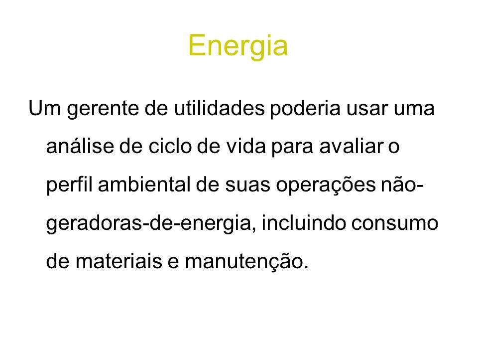 Energia Um gerente de utilidades poderia usar uma análise de ciclo de vida para avaliar o perfil ambiental de suas operações não- geradoras-de-energia, incluindo consumo de materiais e manutenção.