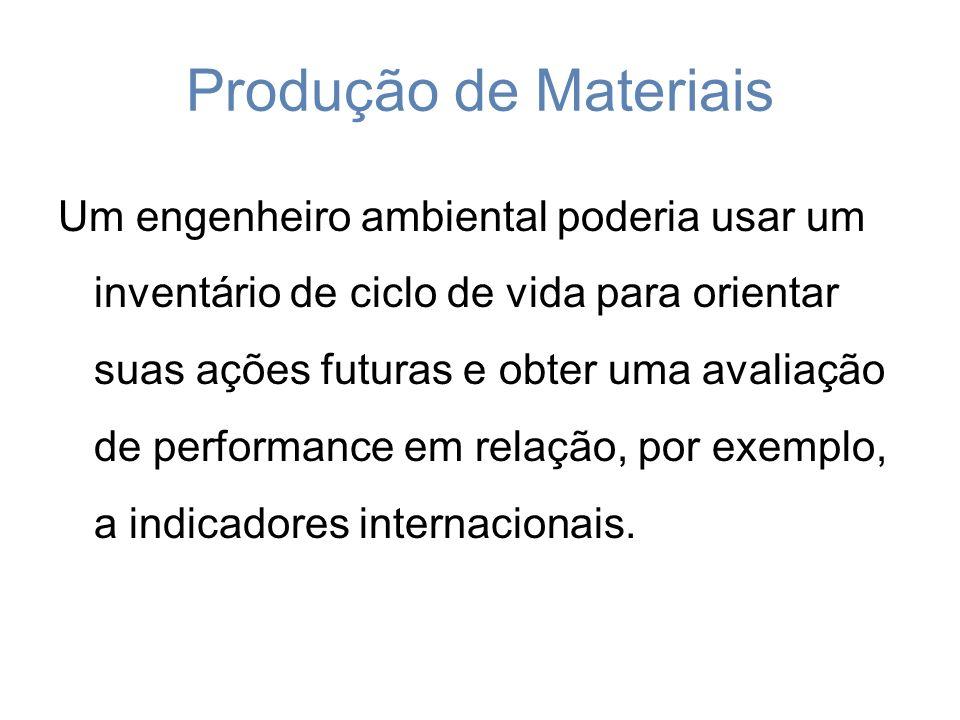 Produção de Materiais Um engenheiro ambiental poderia usar um inventário de ciclo de vida para orientar suas ações futuras e obter uma avaliação de performance em relação, por exemplo, a indicadores internacionais.