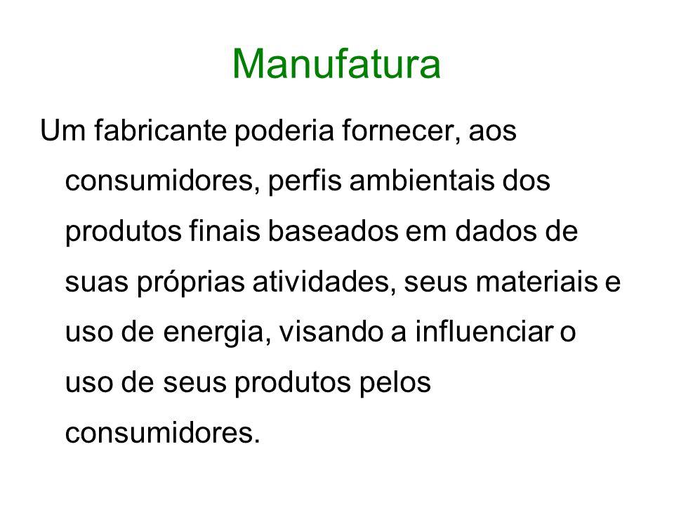 Manufatura Um fabricante poderia fornecer, aos consumidores, perfis ambientais dos produtos finais baseados em dados de suas próprias atividades, seus materiais e uso de energia, visando a influenciar o uso de seus produtos pelos consumidores.
