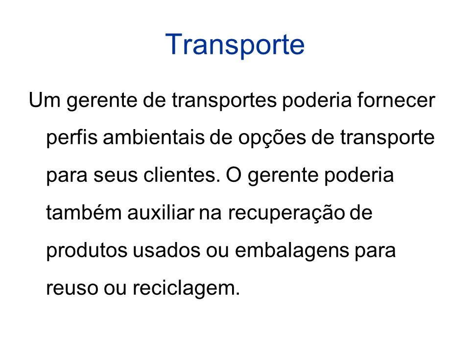 Transporte Um gerente de transportes poderia fornecer perfis ambientais de opções de transporte para seus clientes.