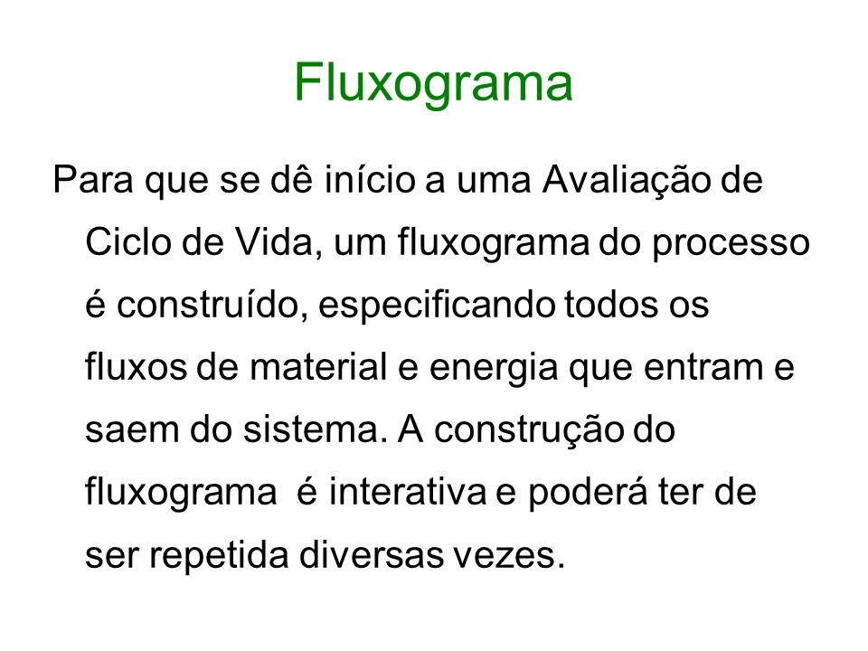 Fluxograma Para que se dê início a uma Avaliação de Ciclo de Vida, um fluxograma do processo é construído, especificando todos os fluxos de material e energia que entram e saem do sistema.