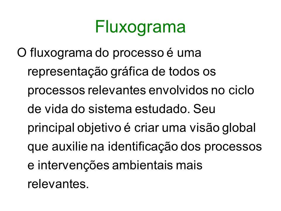 Fluxograma O fluxograma do processo é uma representação gráfica de todos os processos relevantes envolvidos no ciclo de vida do sistema estudado.