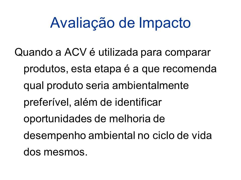 Avaliação de Impacto Quando a ACV é utilizada para comparar produtos, esta etapa é a que recomenda qual produto seria ambientalmente preferível, além de identificar oportunidades de melhoria de desempenho ambiental no ciclo de vida dos mesmos.