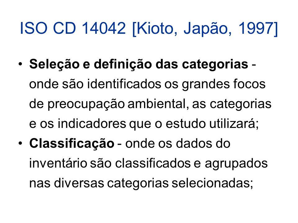 ISO CD 14042 [Kioto, Japão, 1997] Seleção e definição das categorias - onde são identificados os grandes focos de preocupação ambiental, as categorias e os indicadores que o estudo utilizará; Classificação - onde os dados do inventário são classificados e agrupados nas diversas categorias selecionadas;