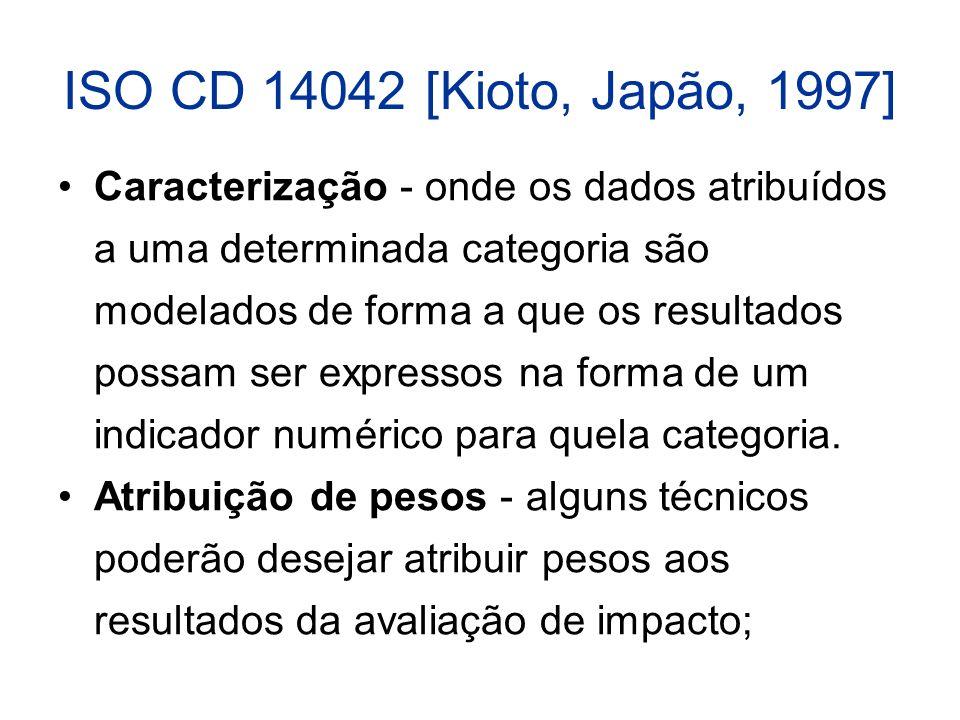 ISO CD 14042 [Kioto, Japão, 1997] Caracterização - onde os dados atribuídos a uma determinada categoria são modelados de forma a que os resultados possam ser expressos na forma de um indicador numérico para quela categoria.