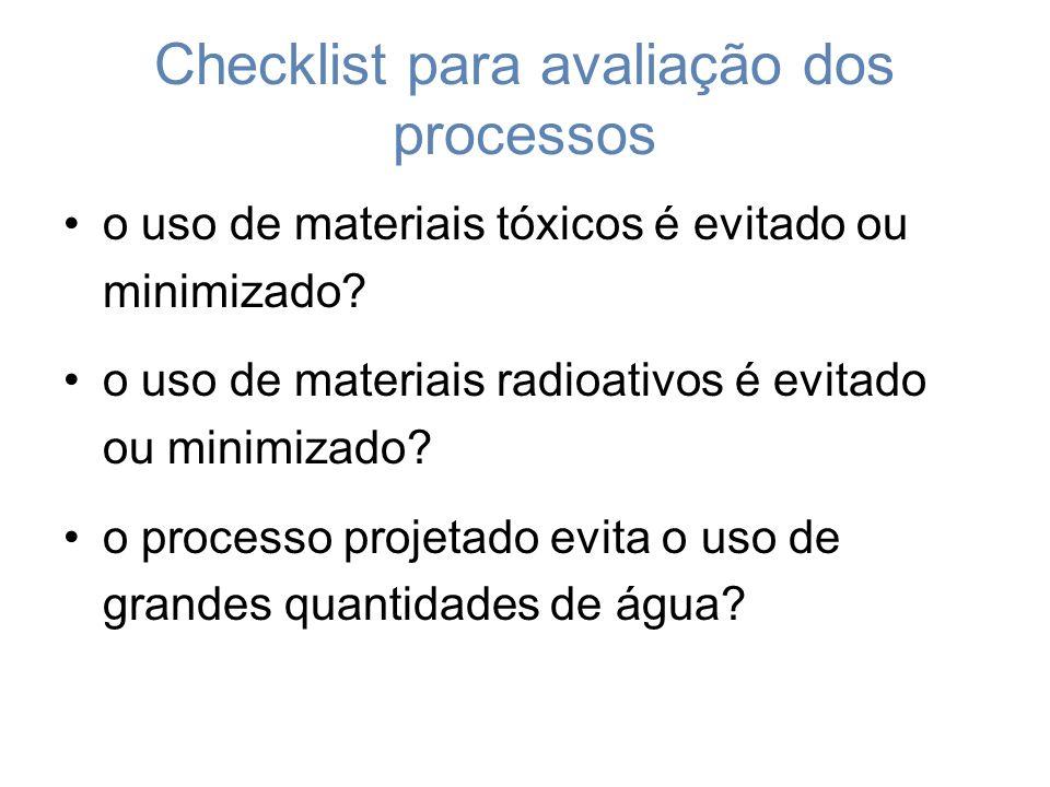 Checklist para avaliação dos processos o uso de materiais tóxicos é evitado ou minimizado.