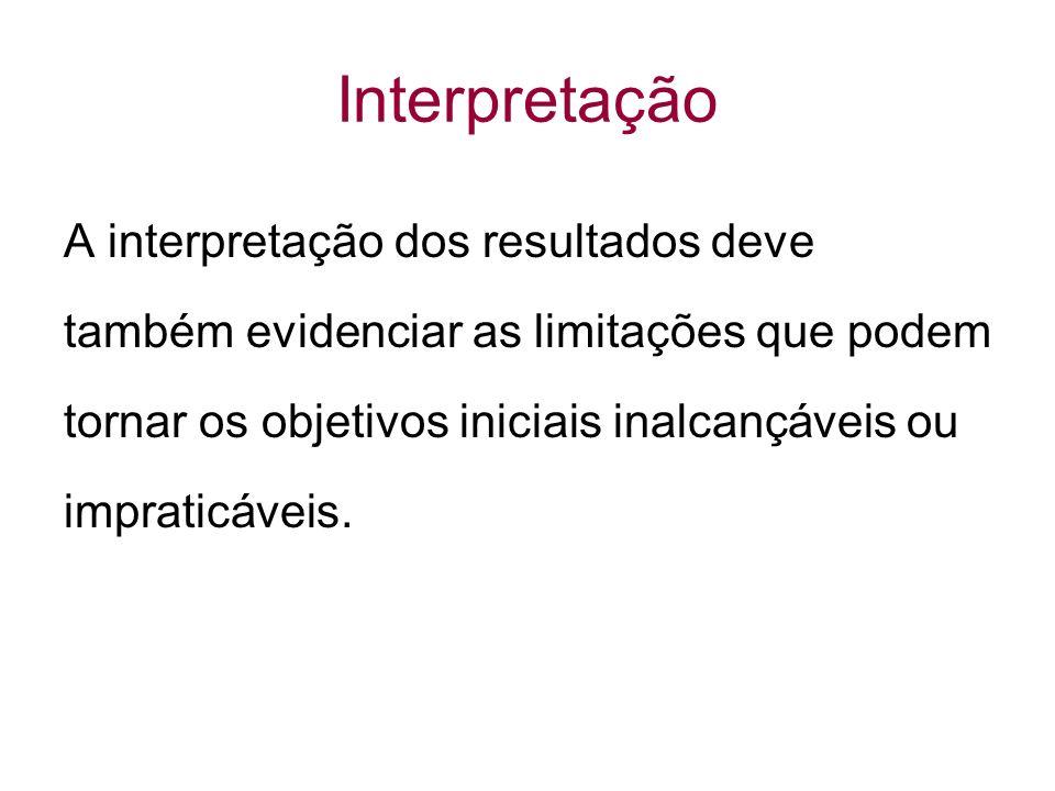 Interpretação A interpretação dos resultados deve também evidenciar as limitações que podem tornar os objetivos iniciais inalcançáveis ou impraticáveis.