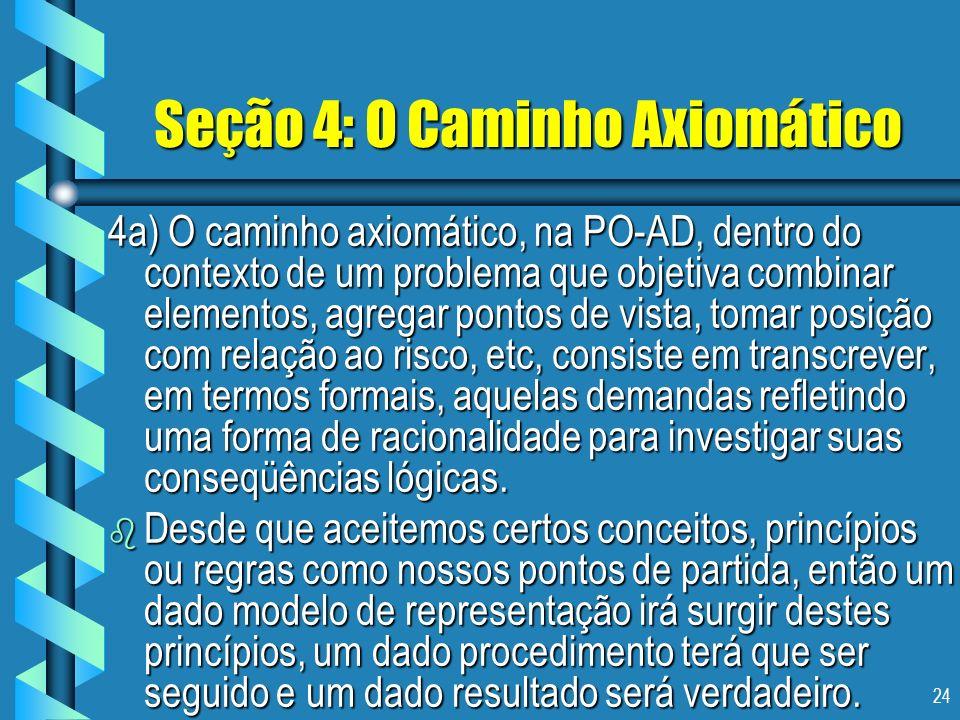 24 Seção 4: O Caminho Axiomático 4a) O caminho axiomático, na PO-AD, dentro do contexto de um problema que objetiva combinar elementos, agregar pontos