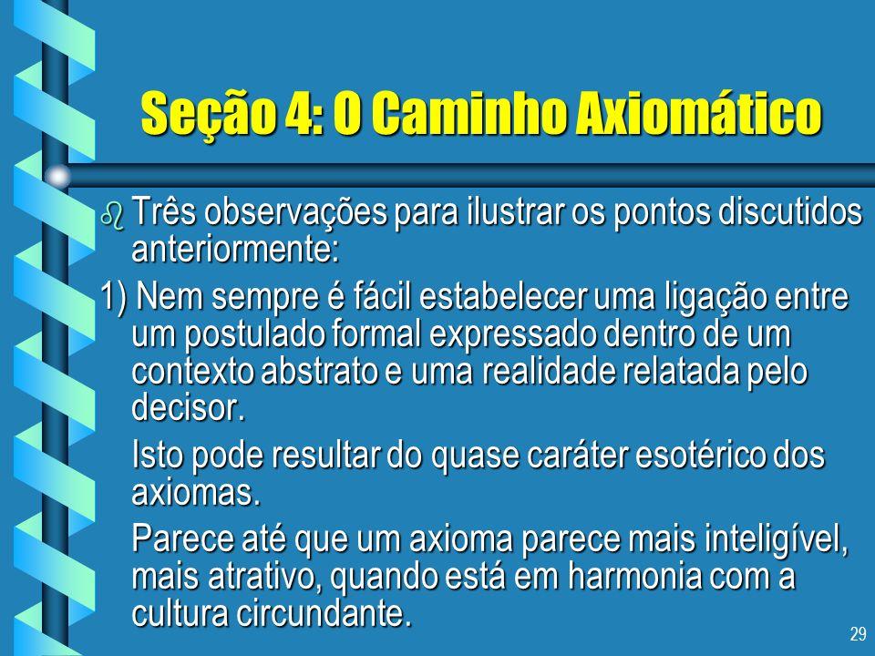 29 Seção 4: O Caminho Axiomático b Três observações para ilustrar os pontos discutidos anteriormente: 1) Nem sempre é fácil estabelecer uma ligação en