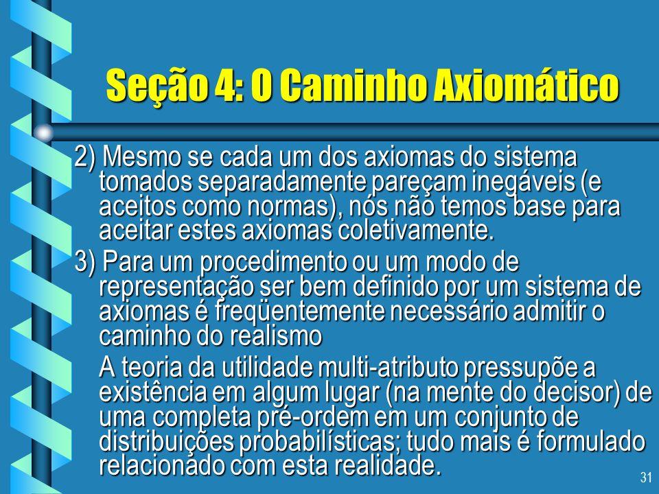 31 Seção 4: O Caminho Axiomático 2) Mesmo se cada um dos axiomas do sistema tomados separadamente pareçam inegáveis (e aceitos como normas), nós não t
