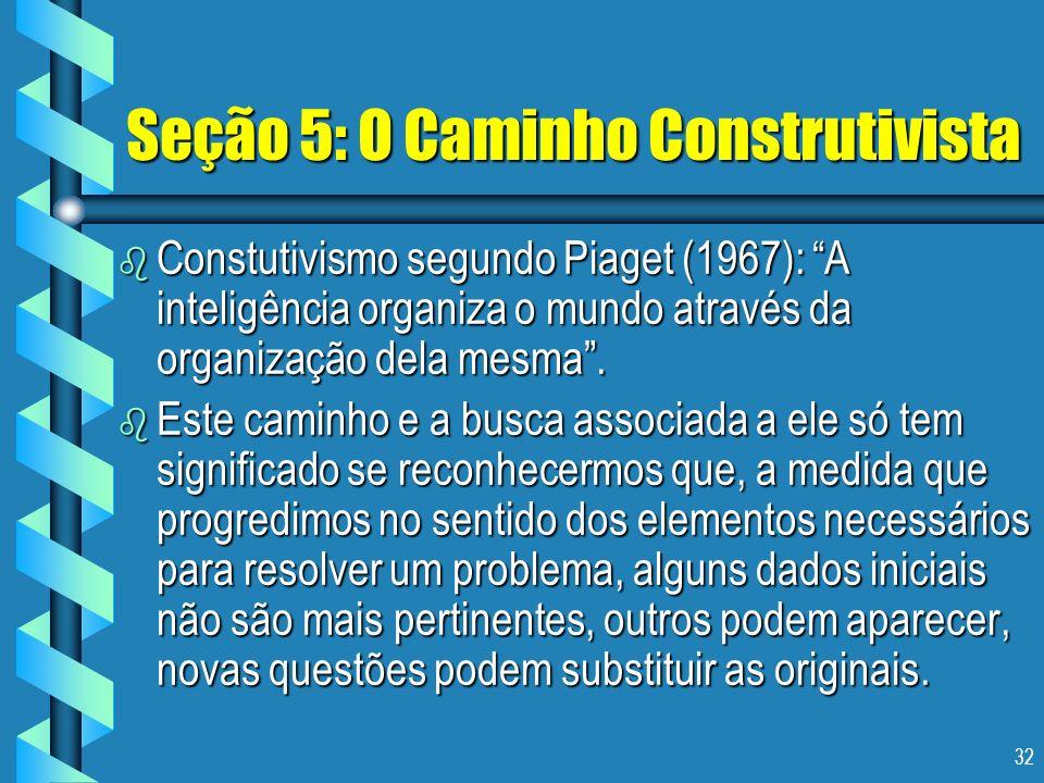 32 Seção 5: O Caminho Construtivista b Constutivismo segundo Piaget (1967): A inteligência organiza o mundo através da organização dela mesma. b Este