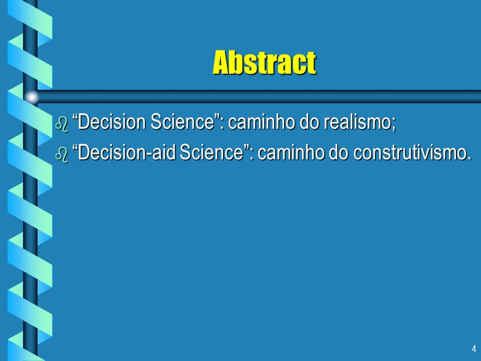 55 Seção 5: O Caminho Construtivista b É desta forma que numerosos experimentos permitiram-nos testemunhar consistentemente os furos entre o comportamento real dos decisores colocados em situação de risco (descrito em termos probabilísticos) e as previsões de tal comportamento dados pelo modelo de utilidade de Von Neumman-Morgenstern.