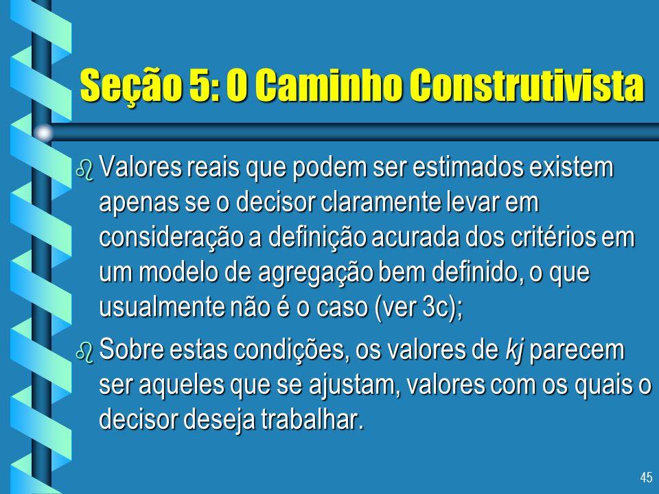 45 Seção 5: O Caminho Construtivista b Valores reais que podem ser estimados existem apenas se o decisor claramente levar em consideração a definição