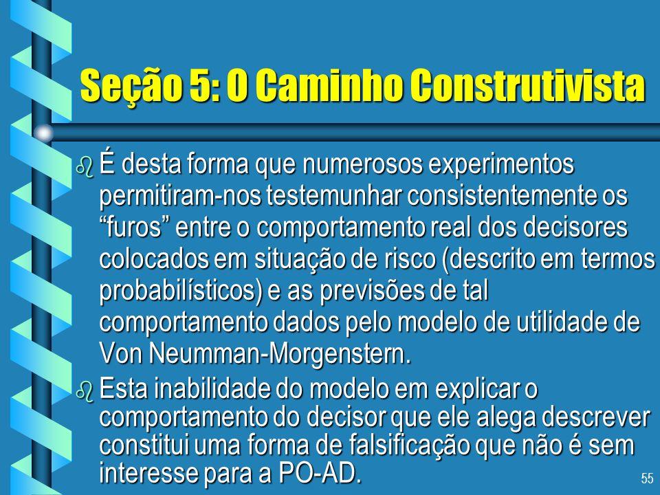 55 Seção 5: O Caminho Construtivista b É desta forma que numerosos experimentos permitiram-nos testemunhar consistentemente os furos entre o comportam