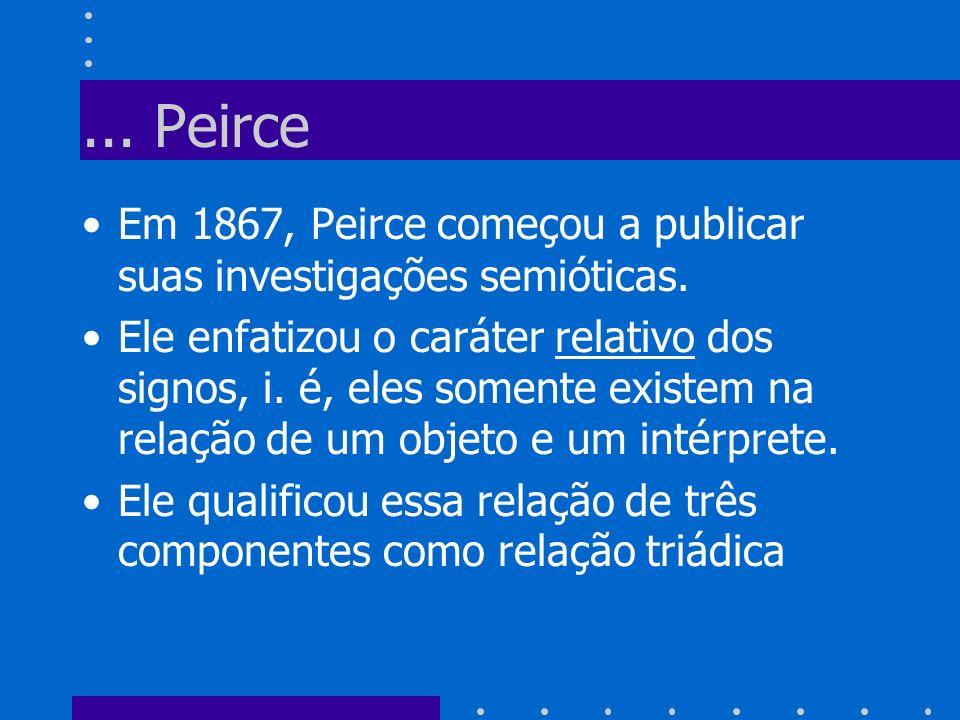... Peirce Em 1867, Peirce começou a publicar suas investigações semióticas. Ele enfatizou o caráter relativo dos signos, i. é, eles somente existem n