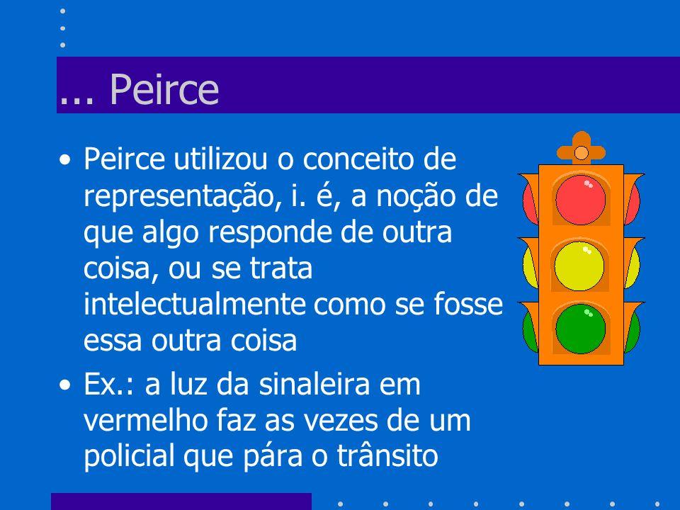 ... Peirce Peirce utilizou o conceito de representação, i. é, a noção de que algo responde de outra coisa, ou se trata intelectualmente como se fosse