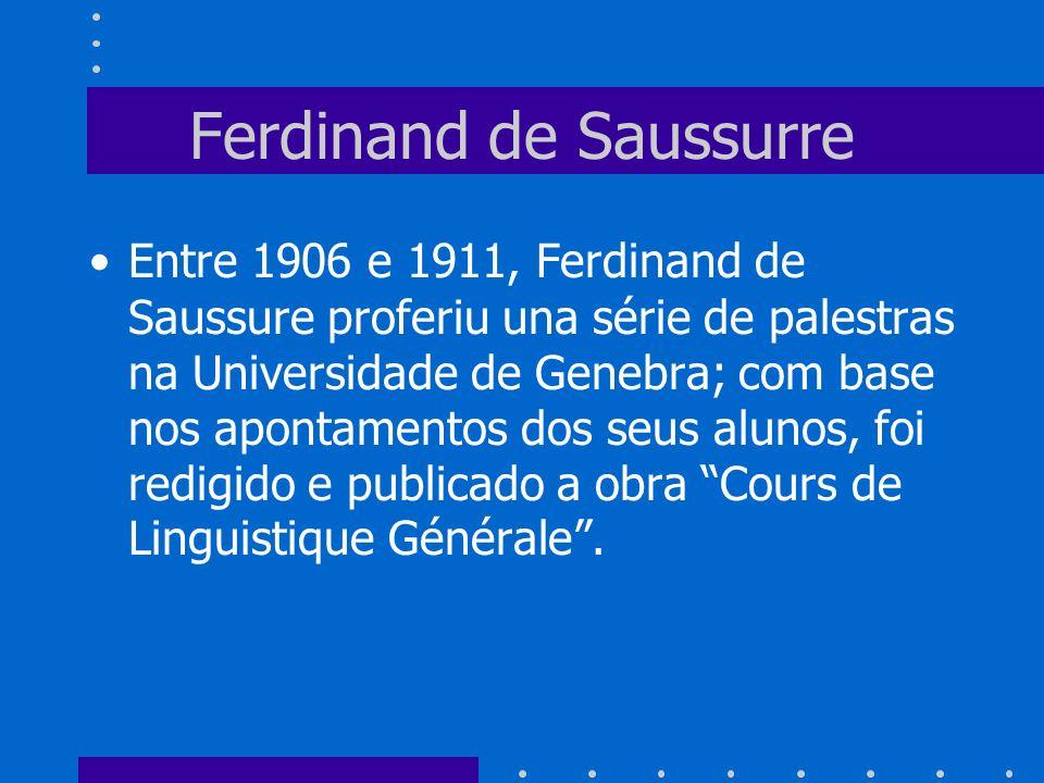 Ferdinand de Saussurre Entre 1906 e 1911, Ferdinand de Saussure proferiu una série de palestras na Universidade de Genebra; com base nos apontamentos