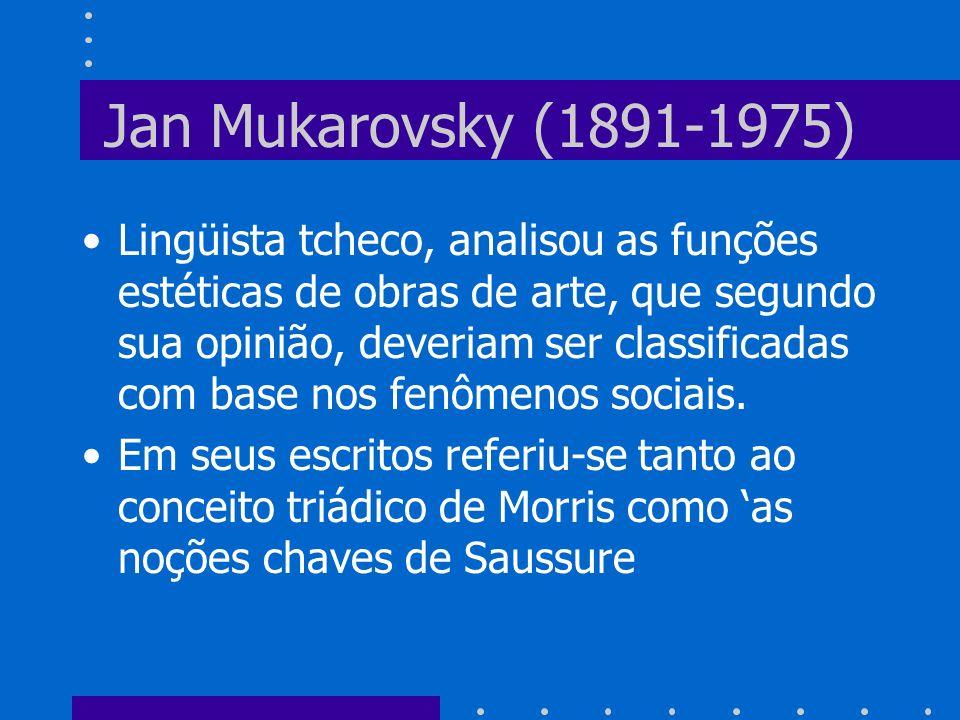 Jan Mukarovsky (1891-1975) Lingüista tcheco, analisou as funções estéticas de obras de arte, que segundo sua opinião, deveriam ser classificadas com b