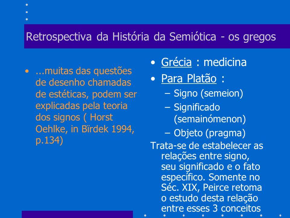 Retrospectiva da História da Semiótica - os gregos Aristóteles utilizou várias noções relacionadas à semiótica, como doutrina dos signos, arte dos signos, arte dos signos(semiotiké), signos (sema ou semeion), etc.