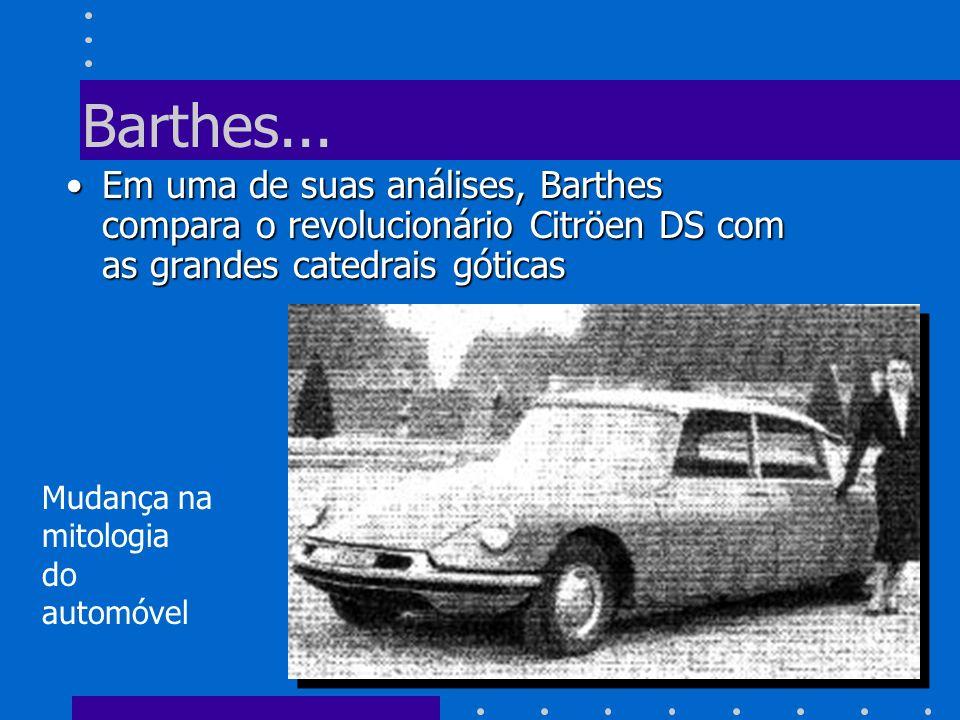 Barthes... Em uma de suas análises, Barthes compara o revolucionário Citröen DS com as grandes catedrais góticasEm uma de suas análises, Barthes compa